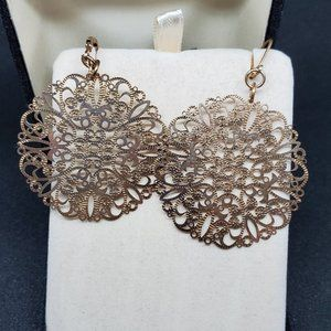 Garold C Miller Intricate Earrings Bronze Tone